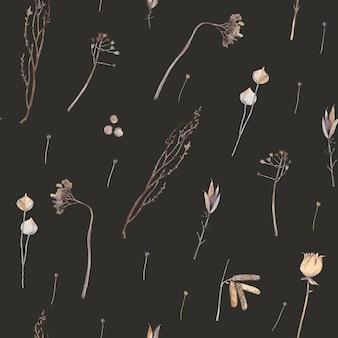 Folhas secas em aquarela. padrão sem emenda vintage. fundo escuro.