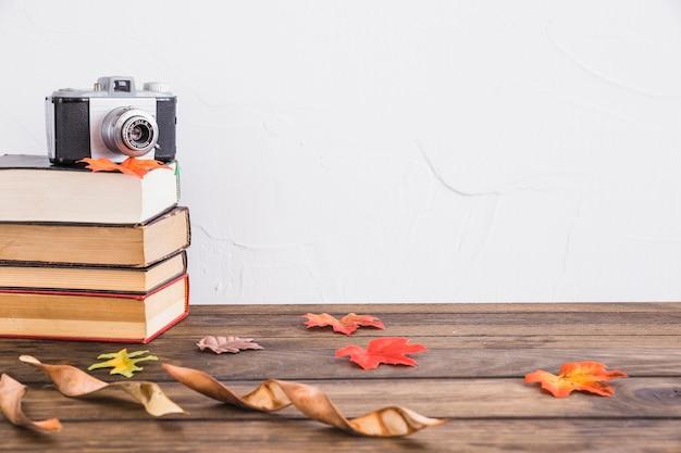 Folhas secas perto de livros e câmera