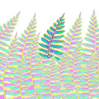 Folhas tropicais coloridas aquarela desenhadas à mão no fundo branco