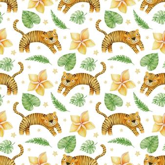 Folhas tropicais de tigres em aquarela sem costura padrão em um fundo branco