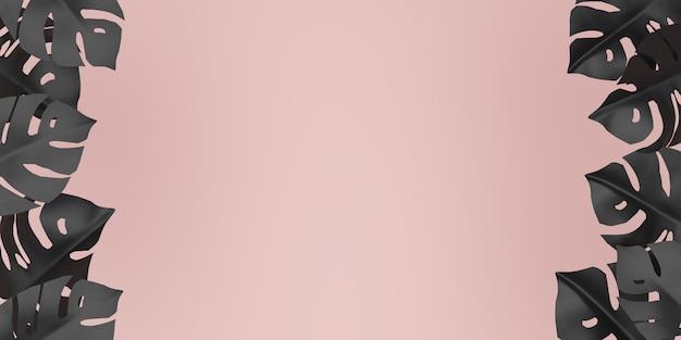 Folhas tropicais formando bordas nas laterais de um fundo rosa