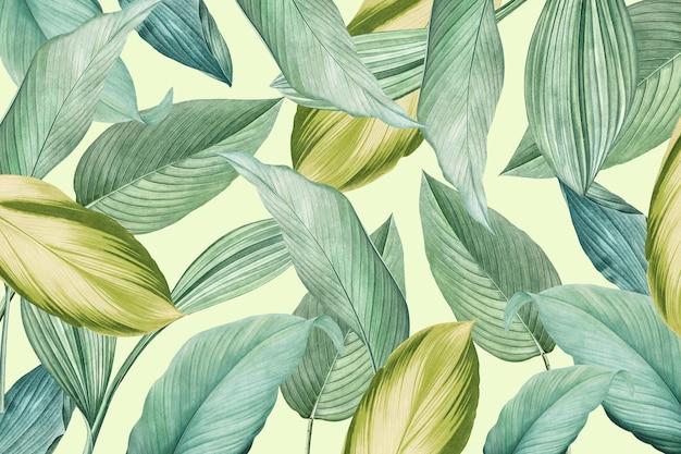 Folhas tropicais verdes com fundo estampado