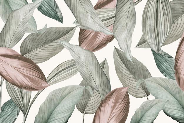 Folhas tropicais verdes com fundo estampado Foto gratuita