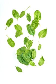 Folhas verdes de espinafre voando no branco, salada fresca em movimento, conceito de levitação de vegetais, isolado