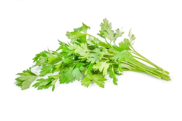 Folhas verdes de salsa isoladas em branco.