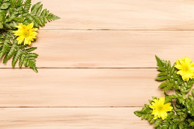 Folhas verdes de samambaia e flores amarelas na superfície de madeira