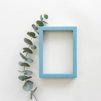 Folhas verdes e moldura de foto em branco vazio de borda azul sobre o pano de fundo branco