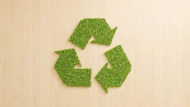 Folhas verdes formando o símbolo de reciclagem no fundo da parede de madeira, reutilizando o conceito de produto reciclável ecologicamente correto, ilustração de renderização 3d abstrata negócios de economia sustentável para reduzir o desperdício
