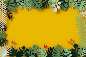 Folhas verdes são emolduradas em fundo amarelo, mosca de papel de borboleta