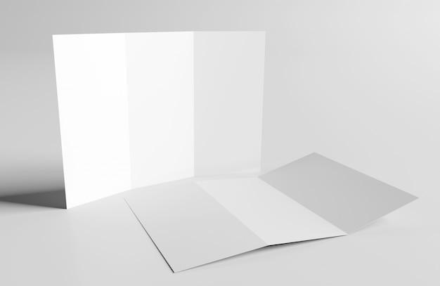 Folheto com três dobras mock up, renderização em 3d