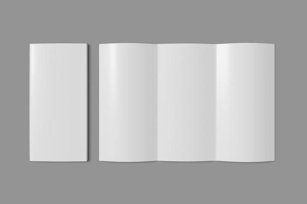 Folheto dobrável em três partes aberto no fundo cinzento