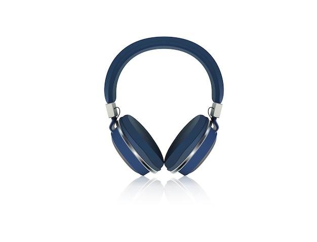 Fone de ouvido azul em um fundo branco