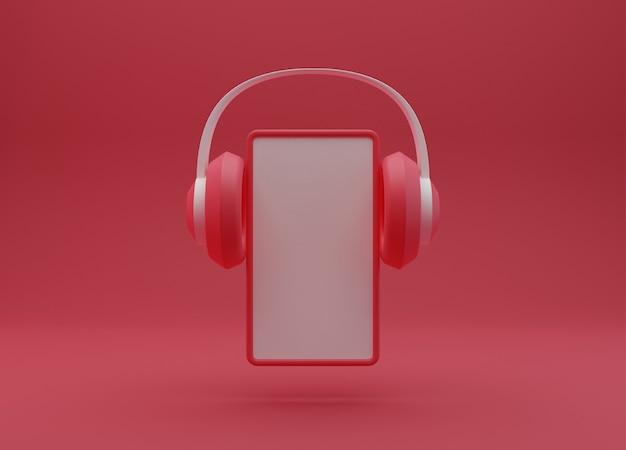 Fone de ouvido com smartphone isolado, renderização em 3d