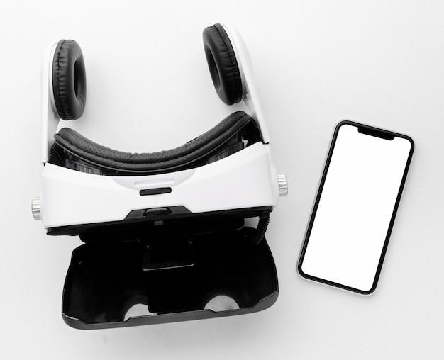 Fone de ouvido de realidade virtual de visão superior e celular