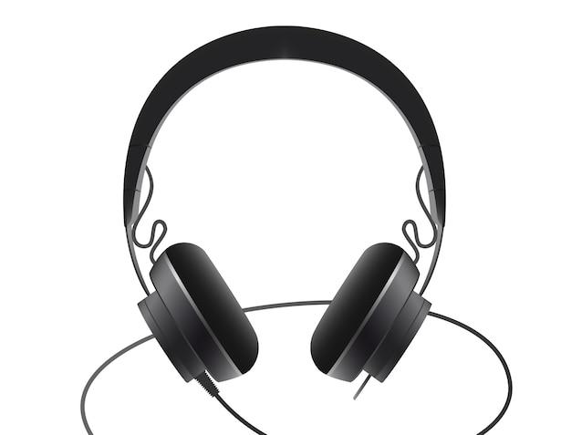 Fone de ouvido preto em um fundo branco