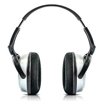 Fone de ouvido preto moderno isolado no fundo branco