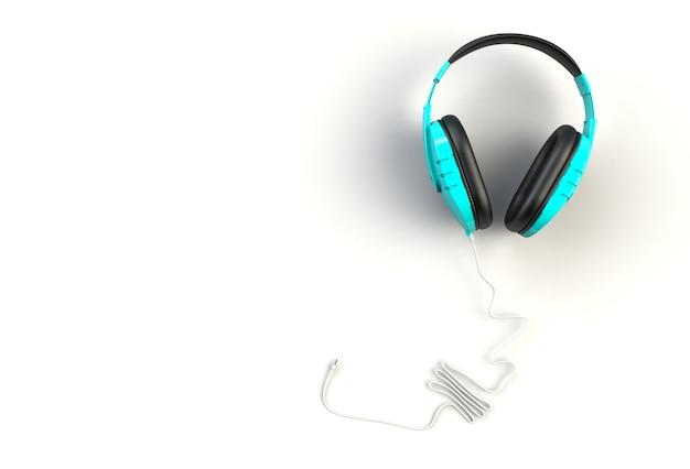 Fones de ouvido azuis no fundo branco