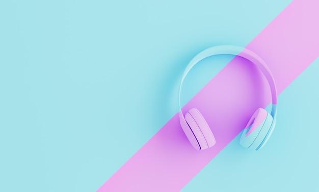Fones de ouvido azuis sobre fundo com linha rosa e espaço para texto. 3d render