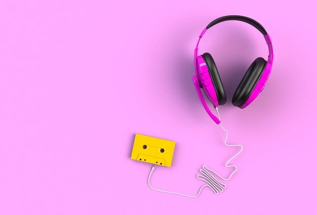 Fones de ouvido com fita cassete, vista superior com copyspace para o seu texto, renderização em 3d
