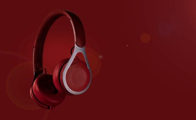 Fones de ouvido com fundo colorido (transições de tons multicoloridos). design de cartaz com espaço de texto livre
