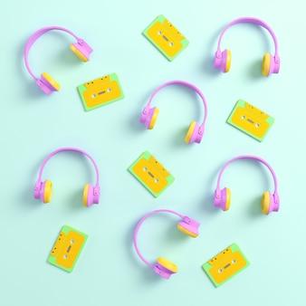 Fones de ouvido e fitas cassete retrô em fundo brilhante