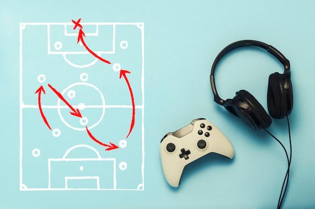 Fones de ouvido e gamepad com desenho com as táticas do jogo