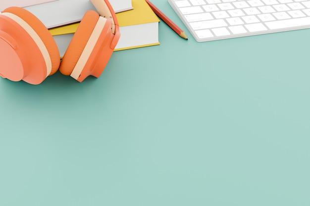 Fones de ouvido e livros na mesa de trabalho. renderização em 3d.