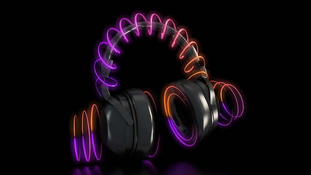 Fones de ouvido e luzes de neon