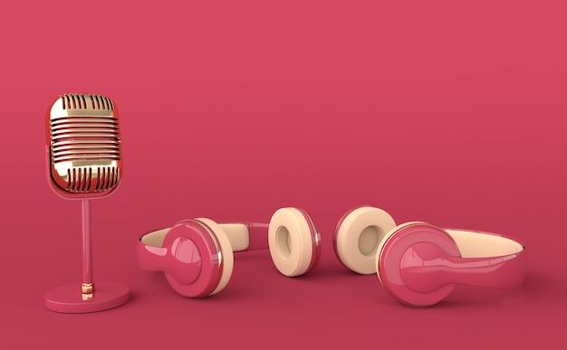 Fones de ouvido e microfone de estilo vintage