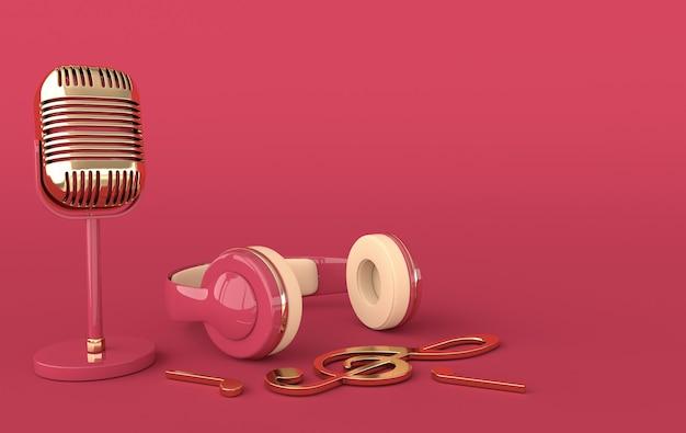 Fones de ouvido e microfone de estilo vintage Foto Premium