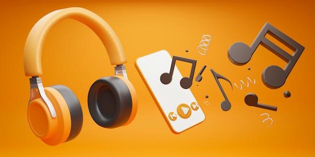 Fones de ouvido e smartphone, música de aplicativo