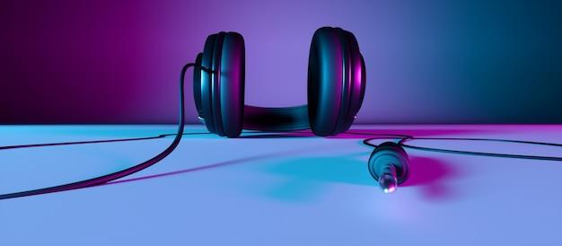 Fones de ouvido em um plano de fundo preto com luz de néon, ilustração 3d