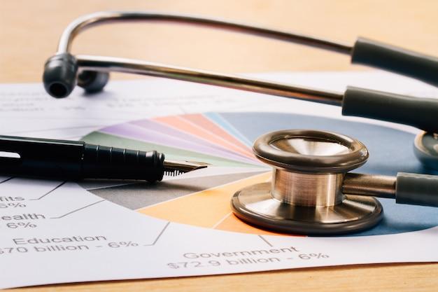 Fones de ouvido médicos, estetoscópio com gráfico financeiro relatório na mesa