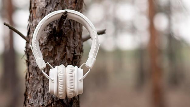 Fones de ouvido pendurados na árvore