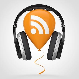 Fones de ouvido por balão com ícone de logotipo de podcast rss em um fundo branco. renderização 3d