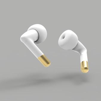 Fones de ouvido pretos e dourados de estilo renderizados ilustração
