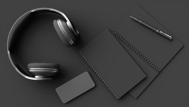 Fones de ouvido pretos em um fundo preto, ilustração 3d