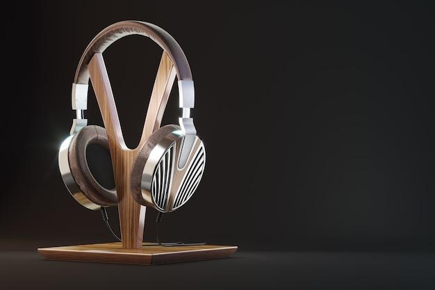 Fones de ouvido retrô, ilustração vintage 3d render