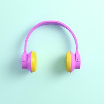 Fones de ouvido rosa em fundo brilhante