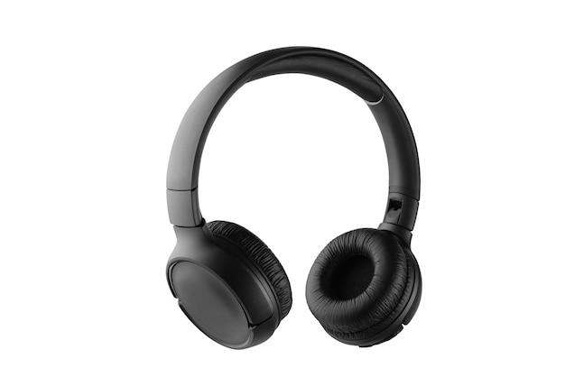 Fones de ouvido sem fio pretos isolados no fundo branco. profundidade de campo total.