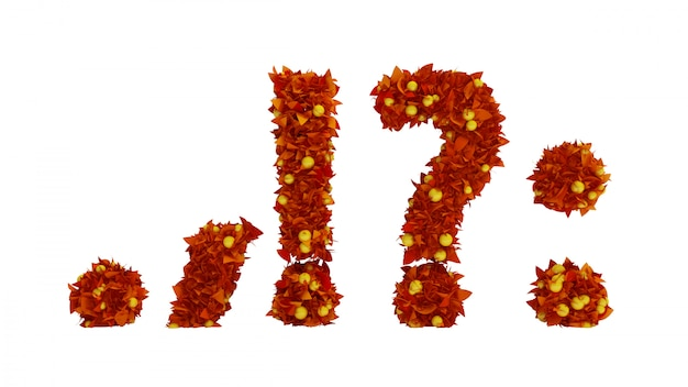 Fonte de bagas outono folhagem. renderização em 3d.