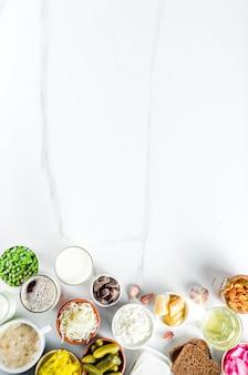 Fontes de alimentos fermentados probióticos super saudáveis