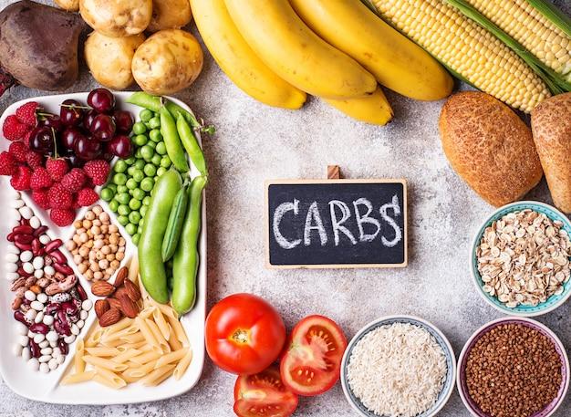 Fontes de produtos saudáveis de carboidratos.