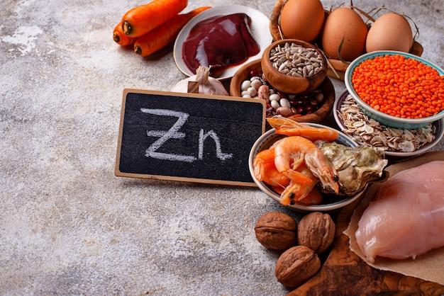 Fontes de produtos saudáveis de zinco.