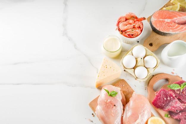 Fontes de proteína animal, carne, ovos, frutos do mar, laticínios