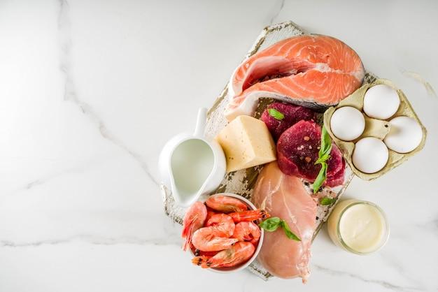 Fontes de proteínas animais, carne, produtos lácteos, queijo, frutos do mar