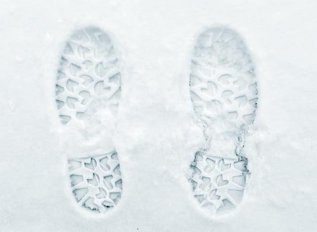 Foot prints on snow