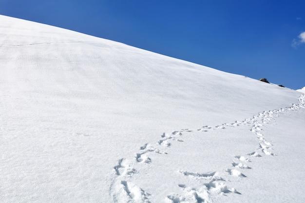 Footsprint na colina coberta de neve