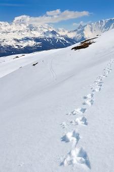 Footsprints na neve com vista na montanha do pico