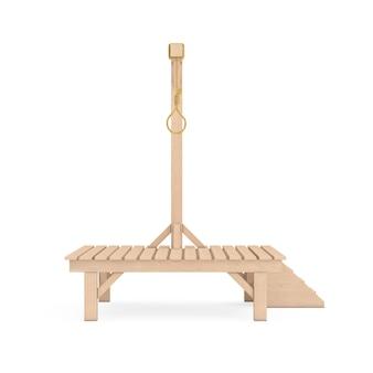 Forca de madeira com nó amarrado com corda de laço pendurado em um fundo branco. renderização 3d